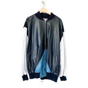 Custom Colorblock Black/White/Teal Bomber Jacket